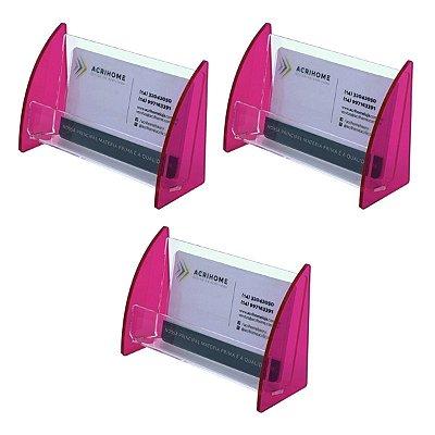 Porta cartões de visitas rosa de acrílico - 3 peças