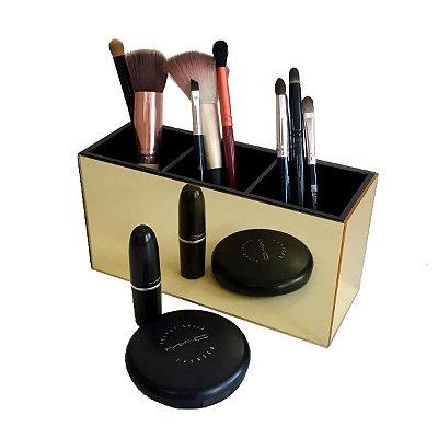 Porta pincel simples - Dourado e Preto