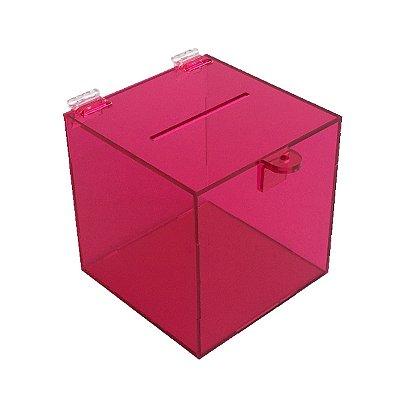 Urna de acrílico 15x15x15cm Rosa