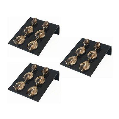 Expositor de brincos 2 furos deitado - Preto - 3 peças