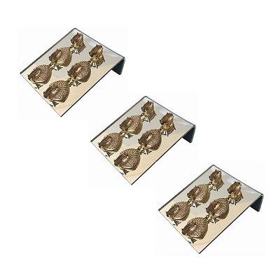 Expositor de brincos 2 furos deitado - Espelhado - 3 peças