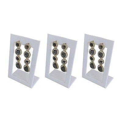 Expositor de brincos 2 furos vazado - Branco - 3 peças