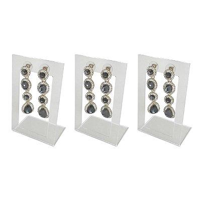 Expositor de brincos 2 furos vazado - Transparente - 3 peças