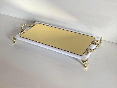 Bandeja de lavabo Dourada e branca com alças e pés dourados