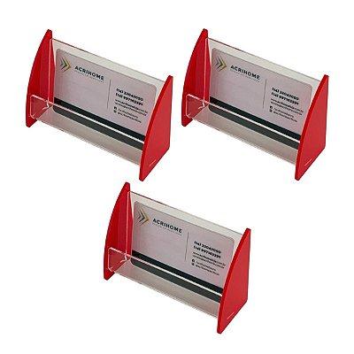Porta cartão de visitas em acrílico vermelho - 3 peças