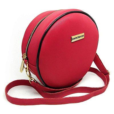 Bolsa Transversal Redonda Comcharme Vermelha