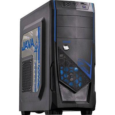 Gabinete Java Pcyes Azul lateral Acrílico Led