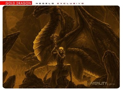 Mousepad Fatality Gold Dragon Médio com case