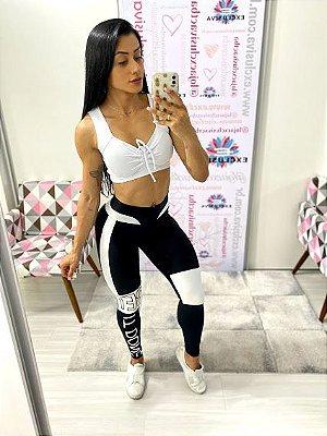Legging Black White Cós Branco