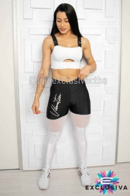 Legging Black White Tule