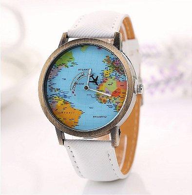 Relógio Mapa Mundi Avião - Branco