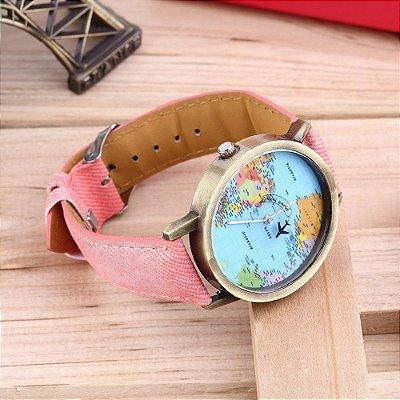 Relógio Mapa Mundi Avião - Rosa