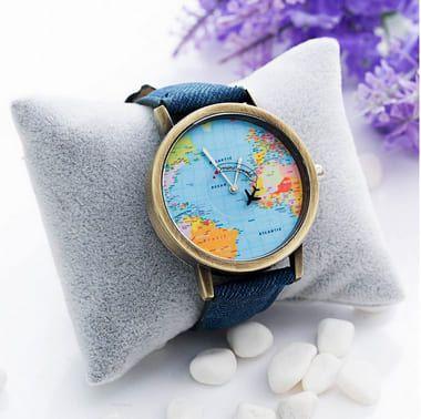 Relógio Mapa Mundi Avião - Azul