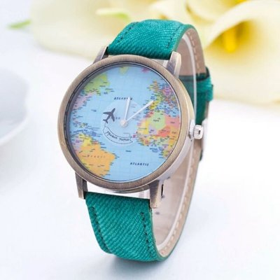 Relógio Mapa Mundi Avião - Verde