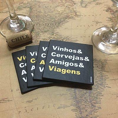 Porta Copos Magnético - Vinho & Cervejas & Amigos & Viagens