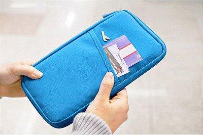 Carteira Porta Passaporte e Documentos - Cor Azul Claro