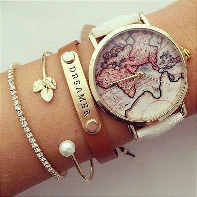 Relógio Mapa Mundi Luxo - Branco