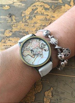 Relógio Mapa Vintage com Avião- Branco