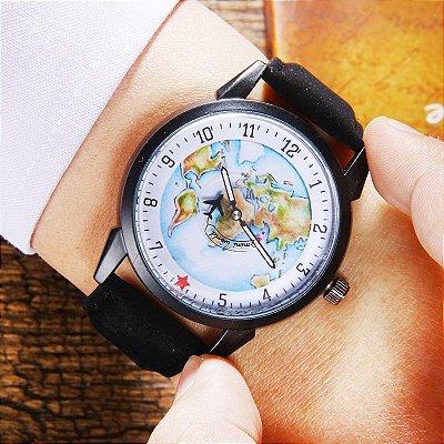 Relógio Mapa Mundi Avião - Destinos e Sonhos - Black
