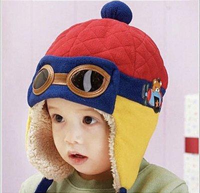 Touca Chapéu de Piloto Nenem Vermelha