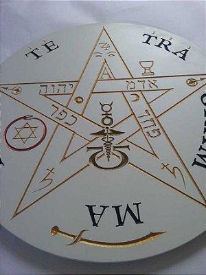 Pentagrama Esotérico | Tetragrammaton | Entalhado em Quadro de MDF