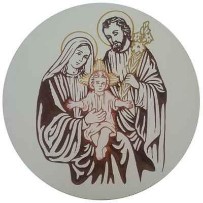 Imagem da Sagrada Família Entalhada em Quadro de MDF