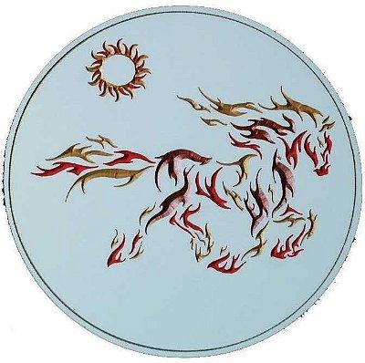 Quadro de Cavalo de Fogo Entalhado no MDF