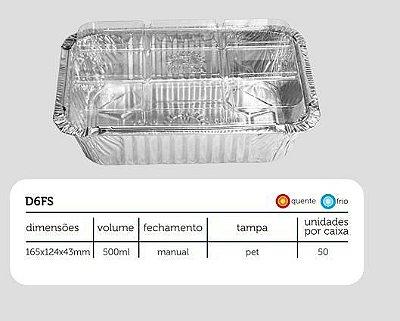 Bandeja D06 FS - 500 ml - Microondas / Forno / Freezer - WYDA - com tampa PET - pacote com 10 unidades