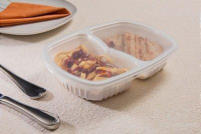 Bandeja refeição caixa com 100 Unidades  - 2 Divisórias - 1.150 ML - G322 - Galvanotek