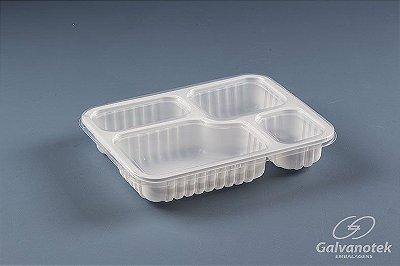 Embalagem Pote Para Freezer E Microondas - Galvanotek G 324 - 4 Divisórias 1.225ml - pacote com 10 unidades