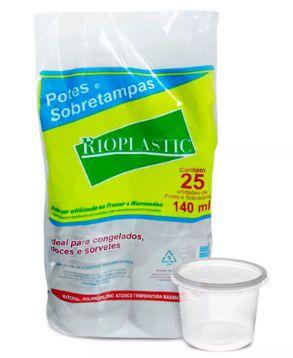 Pote 140ml com tampa pacote com 25 unidades - Rioplastic