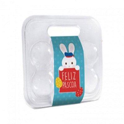 Maleta para 6 ovos transparente com cinta - pacote com 10 - Cromus