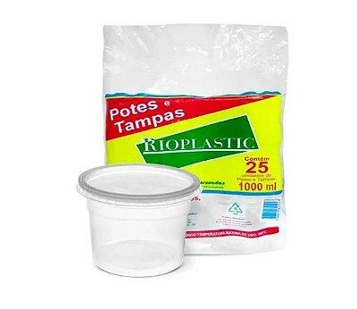 Pote 1.000ml com tampa pacote com 25 unidades - Rioplastic