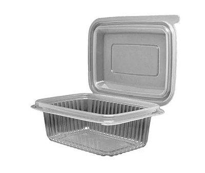 Pote 1.000ml retangular com tampa articulada caixa com 144 unidades - Rioplastic