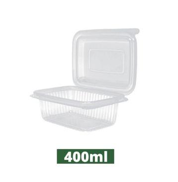 Pote retangular tampa articulada pacote com 24 unidades - 400ml - Rioplastic