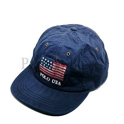 Boné Polo Ralph Lauren Bandeira Fita de Pano Grossa Azul fa3214ef9ba