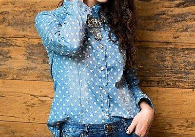 Camisa Jeans estampa CORAÇÃO feminina.