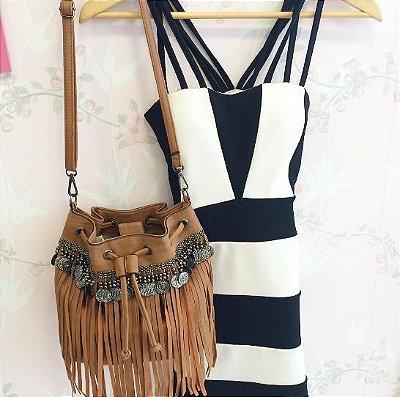 Vestido bicolor 3 alças -  Branco / Preto