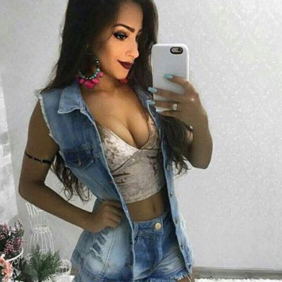 Colete Jeans longo Feminino Destroyed - TENDÊNCIA