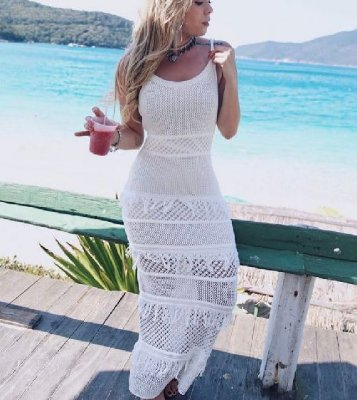 Vestido longo em tricot alcinha, Moda Verão 2018