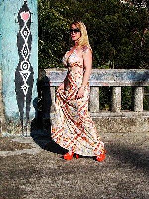 Vestido Dress Longo, frente única, com bojo e forrado