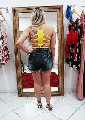 Top cropped decote diferente costas