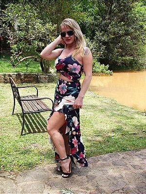 Conjunto Feminino com top+saia longa fenda lateral