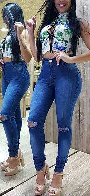 Calça Jeans destroyed no joelho / Calça Jeans No Atacado ( Pacote Grade com 6 Peças 36,38,40,42,44,46 )