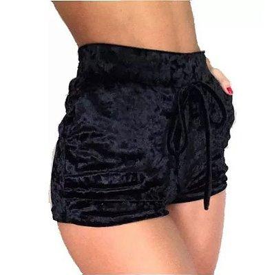 Shorts em Veludo Cor: preto