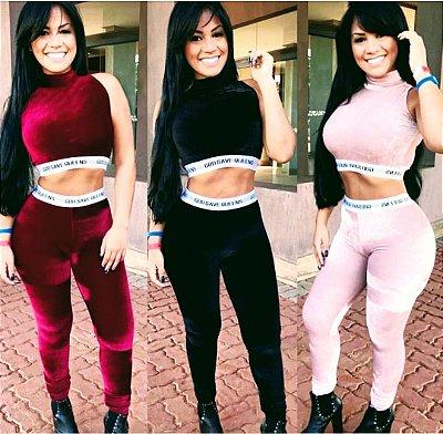 Conjunto Feminino Veludo Cristal Cropped sem manga mais calça