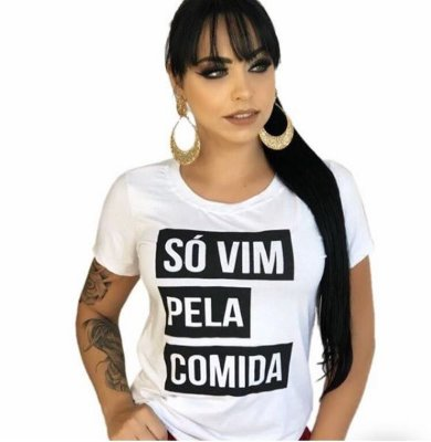 T-shirt Frase SÓ VIM PELA COMIDA