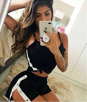 Shorts Faixa  / Botão Lateral Frescor