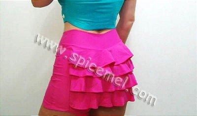 Shorts saia Fitness babadinho no bumbum, tamanho único - Cor pink tecido poliamida