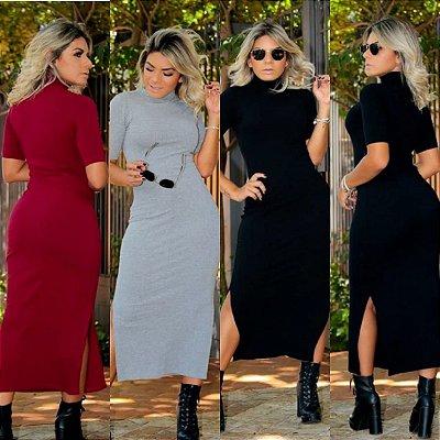 Vestido Midi Gola Rolê, Moda Kim kardashian